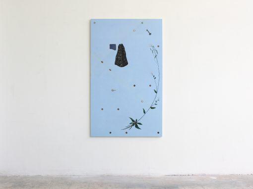 Marco Emmanuele, Arabidopsis, 2016, smalto, acrilico, monete, ceramica e chiavi su tavola, 150x92 cm