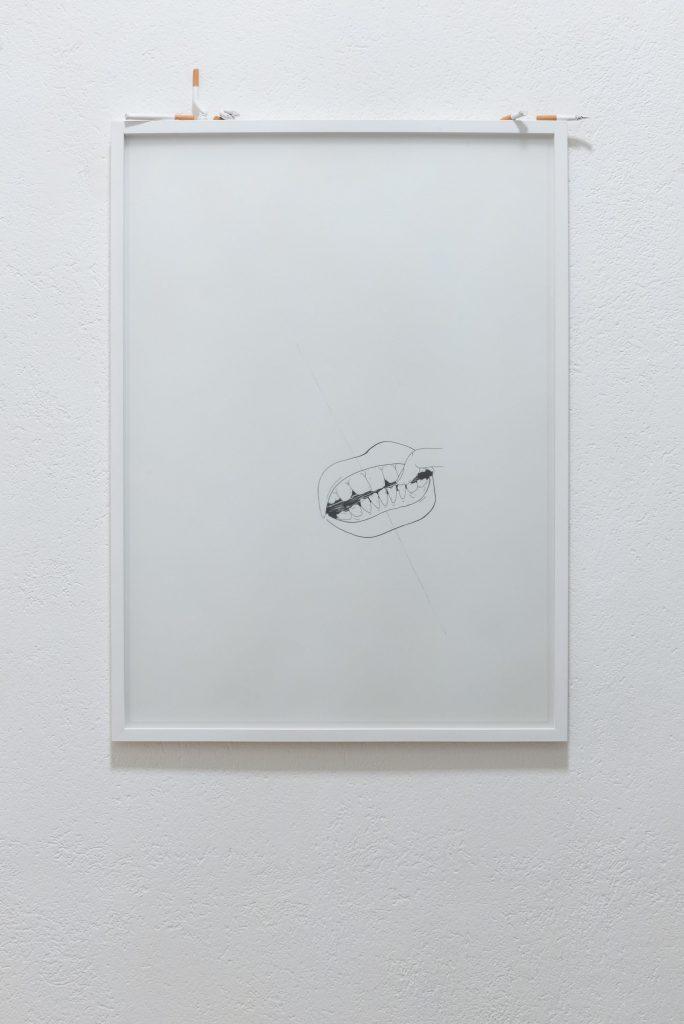 Nicole Colombo, Obsession (mouth), inchiostro su carta, vetro e terracotta, 2020, 56x76 cm