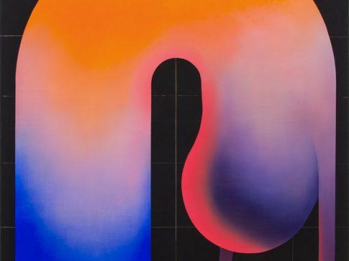 Grit Richter, The Inner Smile, 2019 Oil and bleach on denim 130x105 cm